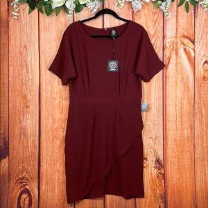 NWT Bobeau Winsor Wine Faux Wrap Midi Dress 1190QL